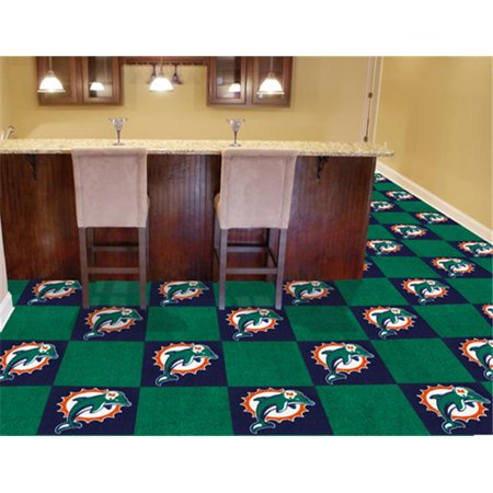 Fanmats 8552 Miami Dolphins Carpet Tiles 18 In  X 18 In  Tiles