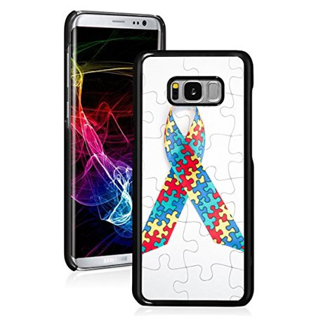 For Samsung Galaxy Hard Back Case Cover Color Puzzle Autism Awareness Ribbon (Black For Samsung Galaxy S8)