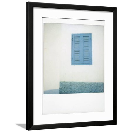 Polaroid of Painted Blue Window Shutter Against Whitewashed Wall, Asilah, Morocco Framed Print Wall Art By Lee (Best Way To Paint Wood Shutters)
