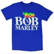 Bob Marley Men's Distressed Logo Flag Short Sleeve T-Shirt Blue ZRBM1087
