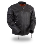 Mens Leather Scooter Style Bomber Jacket