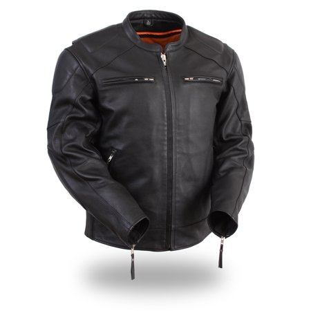 Mens Leather Scooter Style Bomber Jacket by