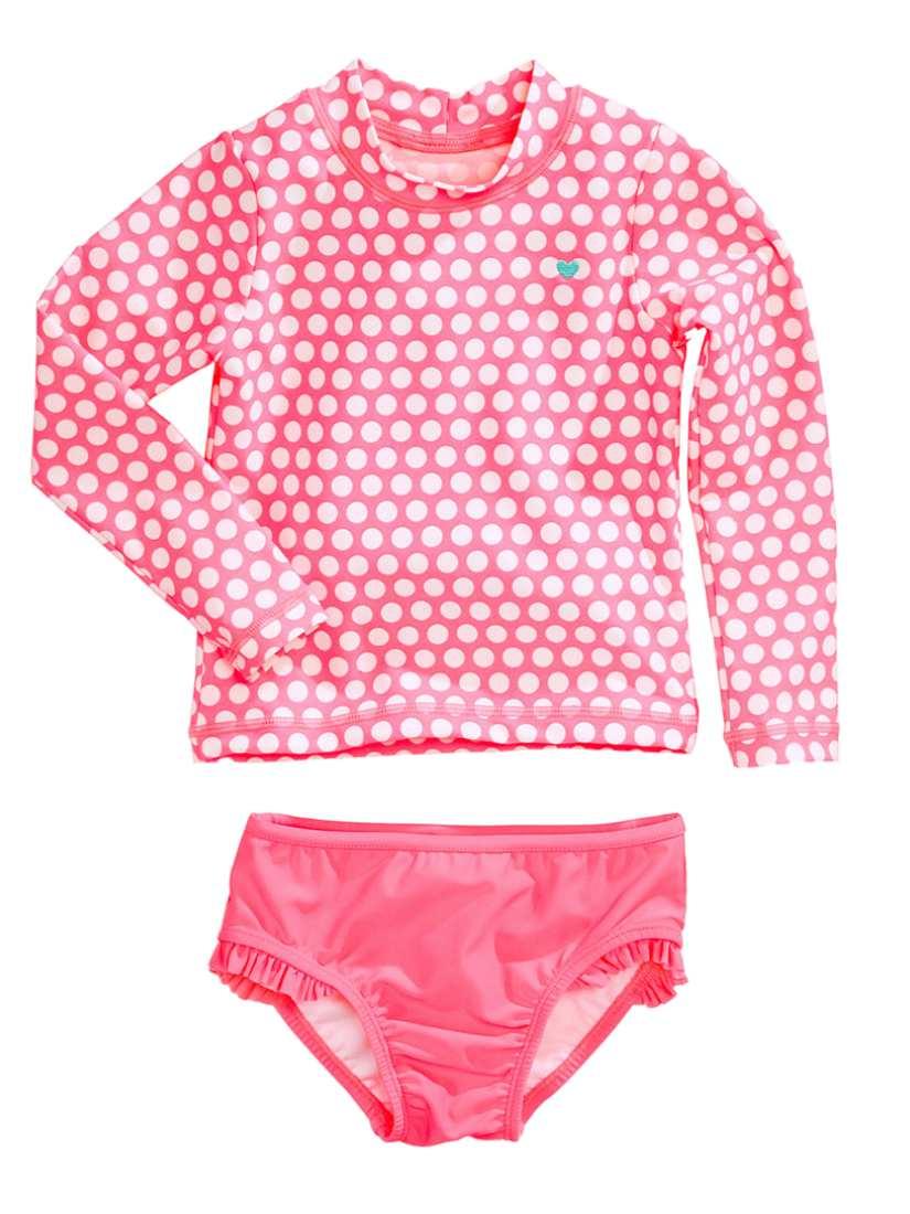 Carters Infant & Toddler Girls Pink Polka Dot Rash Guard Swimming Suit