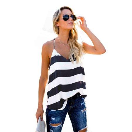Fashion Stripe Top Women Daily V Neck Sleeveless Vest