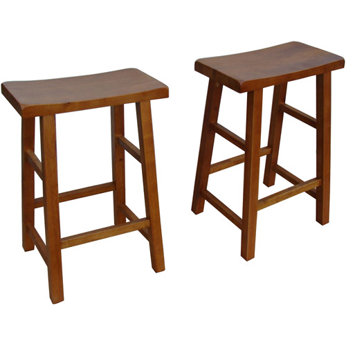 Mainstays Saddle Counter Height Stools 24  Set of 2 Walnut  sc 1 st  Walmart & Mainstays Saddle Counter Height Stools 24