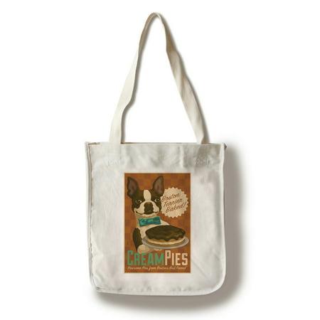 Boston Terrier - Retro Cream Pie Ad - Lantern Press Artwork (100% Cotton Tote Bag -