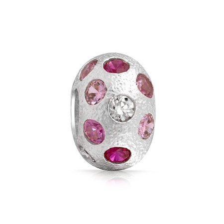 Pink Crystal Bead - Pink White Polka Dot Crystal Murano Glass Sterling Silver Spacer Bead Fits European Charm Bracelet For Women For Teen