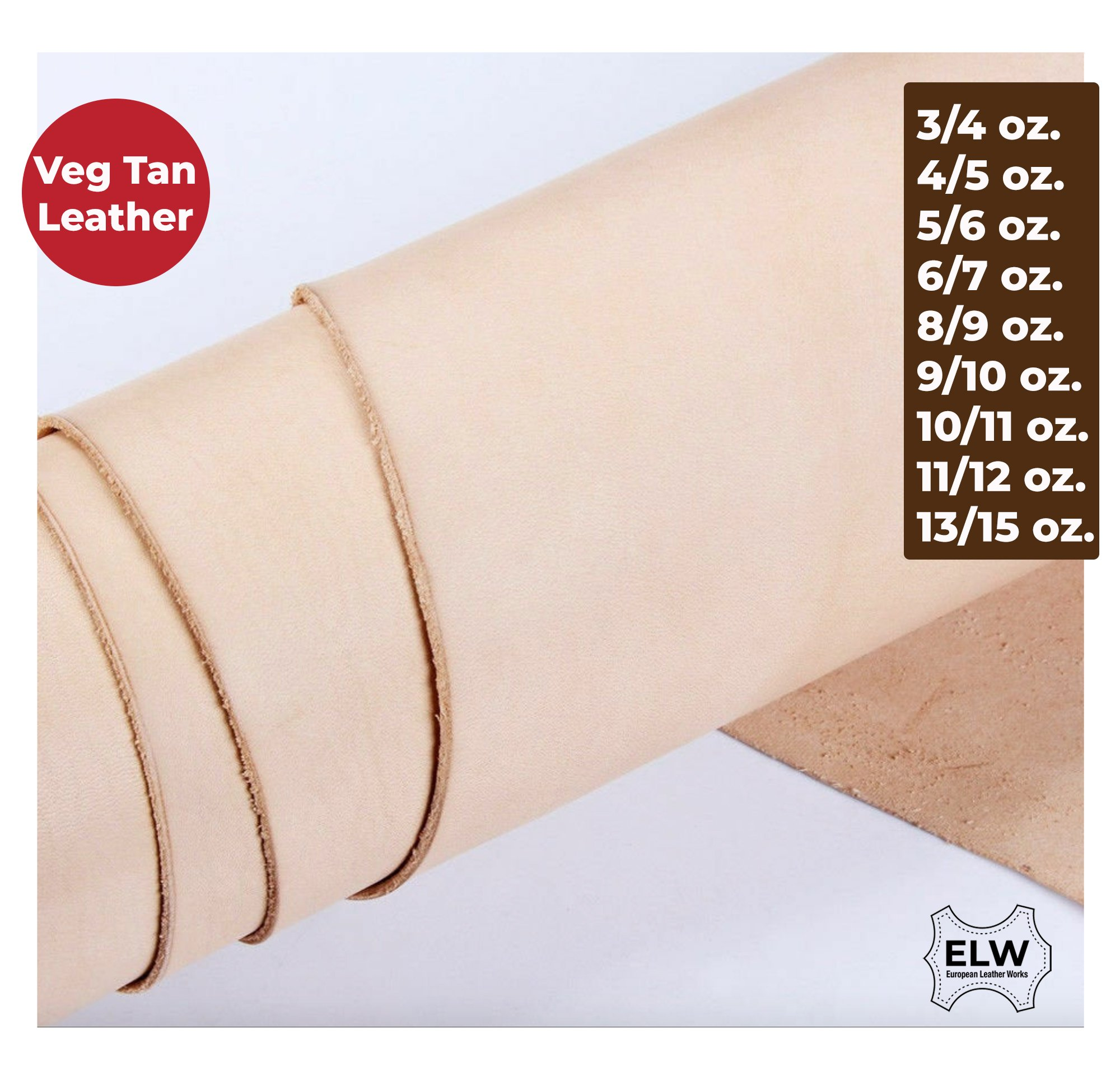 1.8-2mm ELW Tooling Full Grain Leather 4-6 SQ FT Vegetable Tanned 4-5 oz Thickness Pre-Cut Sizes 12 up to 12 Sq Ft Cowhide Full Grain Leather Craft Holsters Emboss Stamp