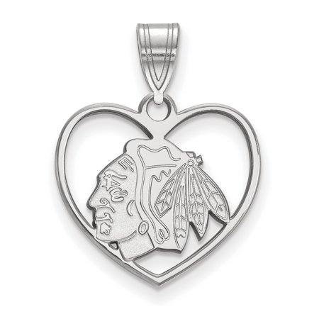 Chicago Blackhawks Sterling Silver Heart Pendant 1 61 Gr