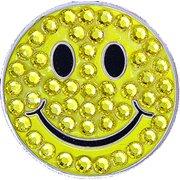 Bella Crystal Golf Ball Marker & Hat Clip - Yellow Smiley
