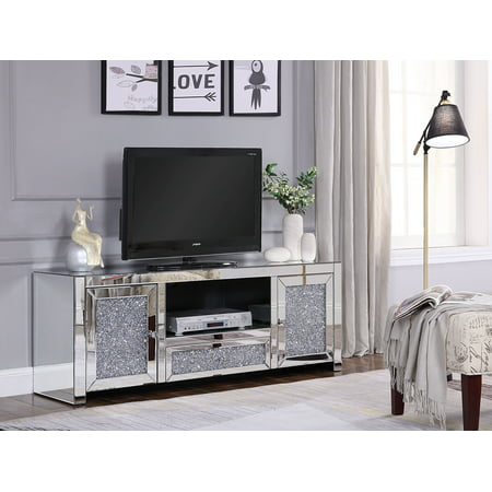 Acme Noralie TV Stand in Mirrored and Faux Diamonds (Mirrored Crystal Ball Stand)