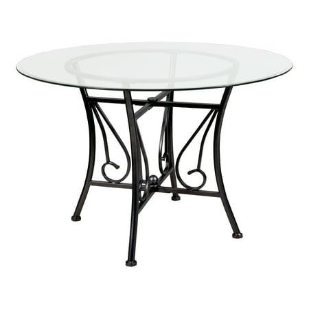 Flash Furniture Princeton 45 Round Glass Dining Table With Black Metal Frame