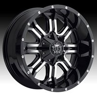 TIS TIS535MB 17X9 5X4.50 / 5X5.00 Gloss Black with Machined Face and Chrome Star Cap