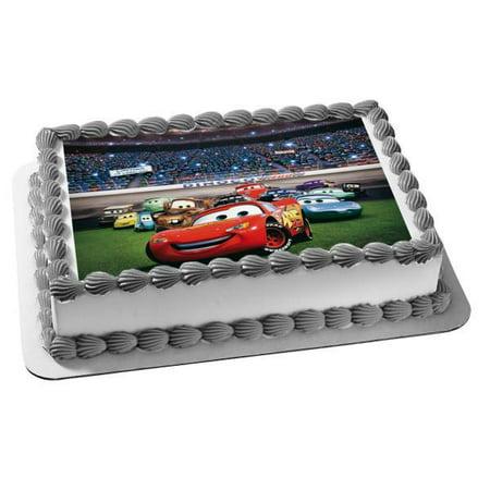 Disney Cars Lightening McQueen Mater Doc Hudson Sally Ramone Fillmore Lizzie Flo Edible Cake Topper