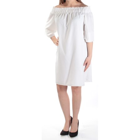 RACHEL ROY Womens White Ruched 3/4 Sleeve Off Shoulder Above The Knee Shift Dress  Size: M - Rachel Riley Dress