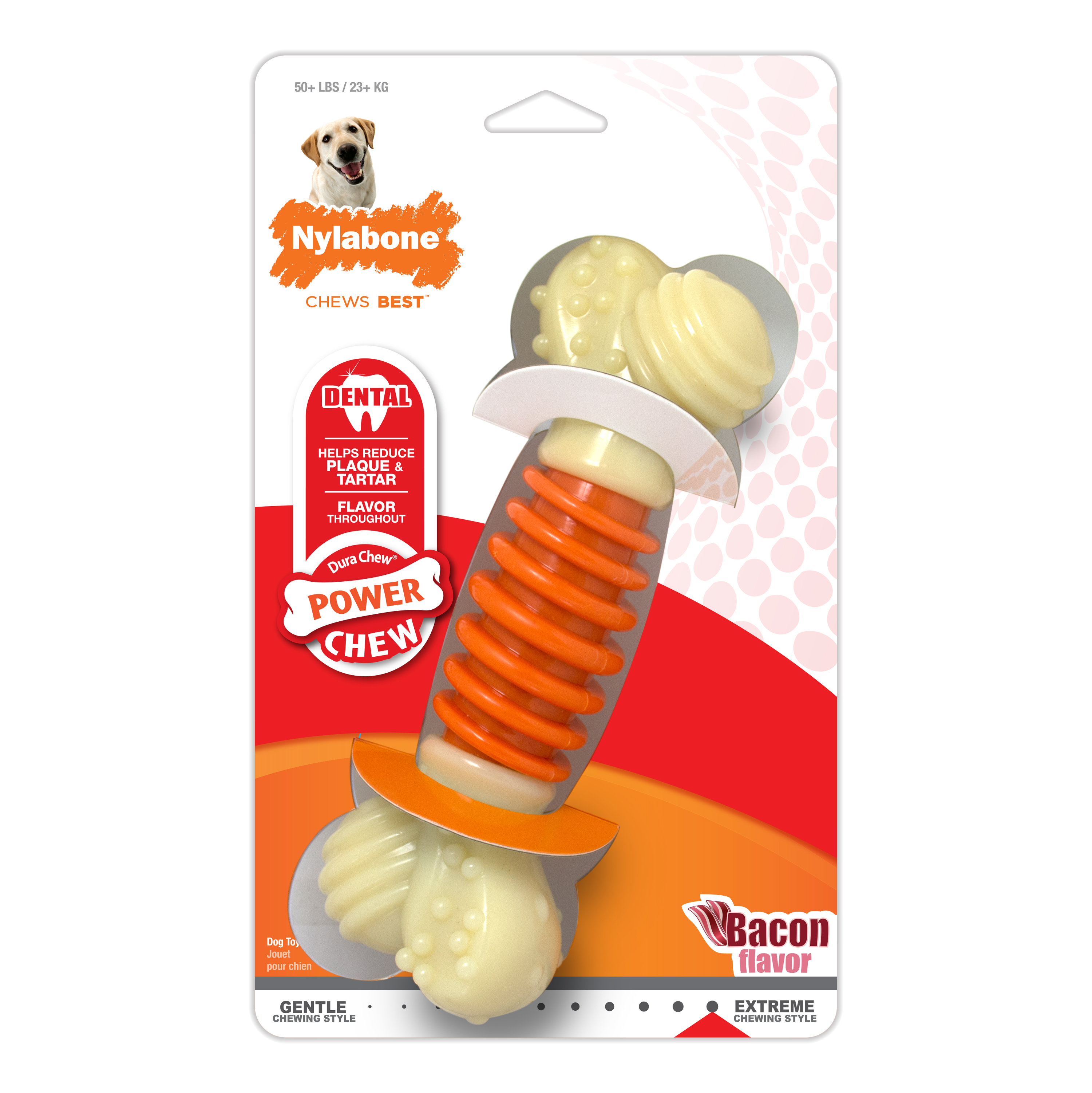 Nylabone Pro Action Dog Bone Dental Chew Toy, Bacon, X-Large