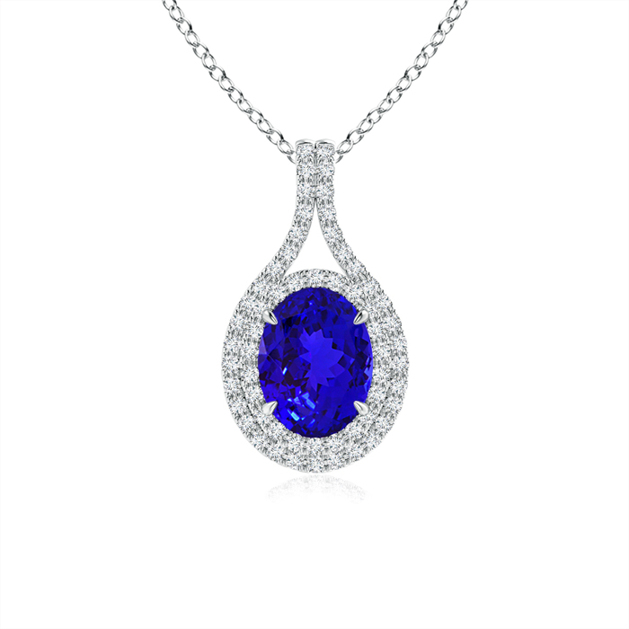 December Birthstone Pendant Necklaces Oval Tanzanite Double Halo Pendant Necklace in 950 Platinum (8x6mm Tanzanite)... by Angara.com