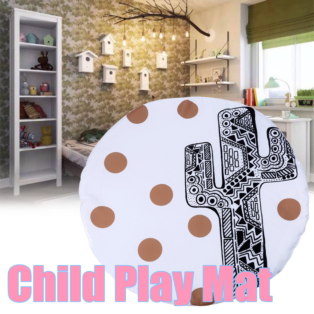 90x90cm Soft Cotton Baby Kids Game Gym Activity Play Mat Crawling Blanket Floor Rug