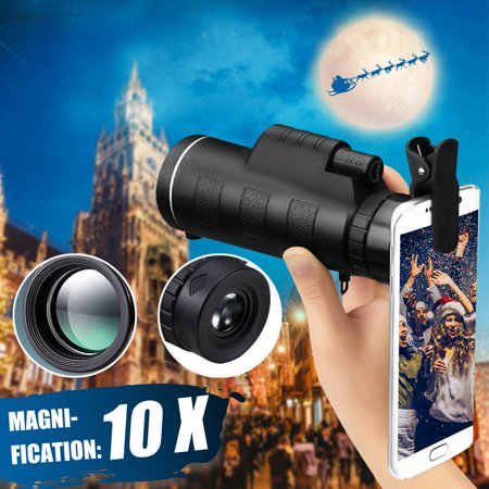 10x40 Waterproof Outdoor HD Monocular Universal Cell Phones Camera Lens Telescope W/ Bag,Phone Holder and Strap For Camping Hunting Valentine's Gifts thumbnail