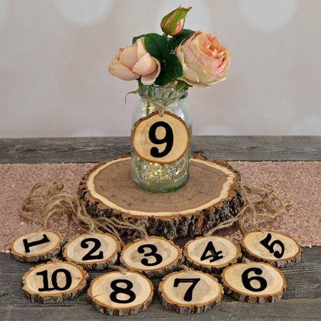 Wooden Number 1-10 Hanging Table Cards Reception Seat Card Hanging Pendant for Wedding Party Decoration - Table Numbers For Wedding Reception