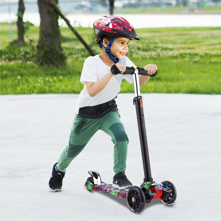 Four Wheel Scooter - Kick Scooter for Kids 3 Wheel Scooter, 4 Adjustable Height, Lean to Steer with PU LED Light Up Wheels for Children from 3 to 17 Years Old