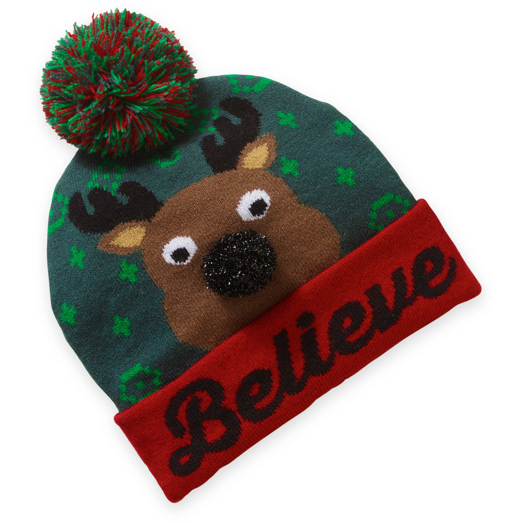 """Believe"" Reindeer Cuff Beanie with 3D Pom Nose"
