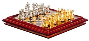 Dollhouse Metal Chess Set And Board by