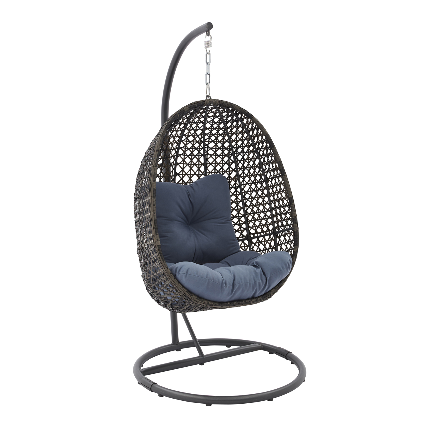 Lantis Outdoor Wicker Hanging Egg Chair With Stand Handwoven Olefin Seat Swing