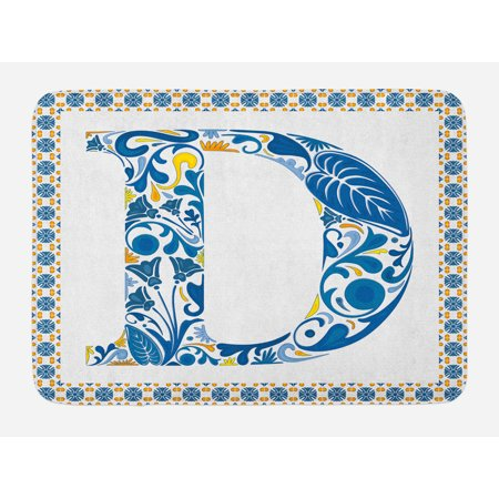 Swirl Alphabet (Letter D Bath Mat, Vibrant Colored Swirls and Flower Elements in Alphabet Artwork with Frame, Non-Slip Plush Mat Bathroom Kitchen Laundry Room Decor, 29.5 X 17.5 Inches, Blue Yellow Orange,)