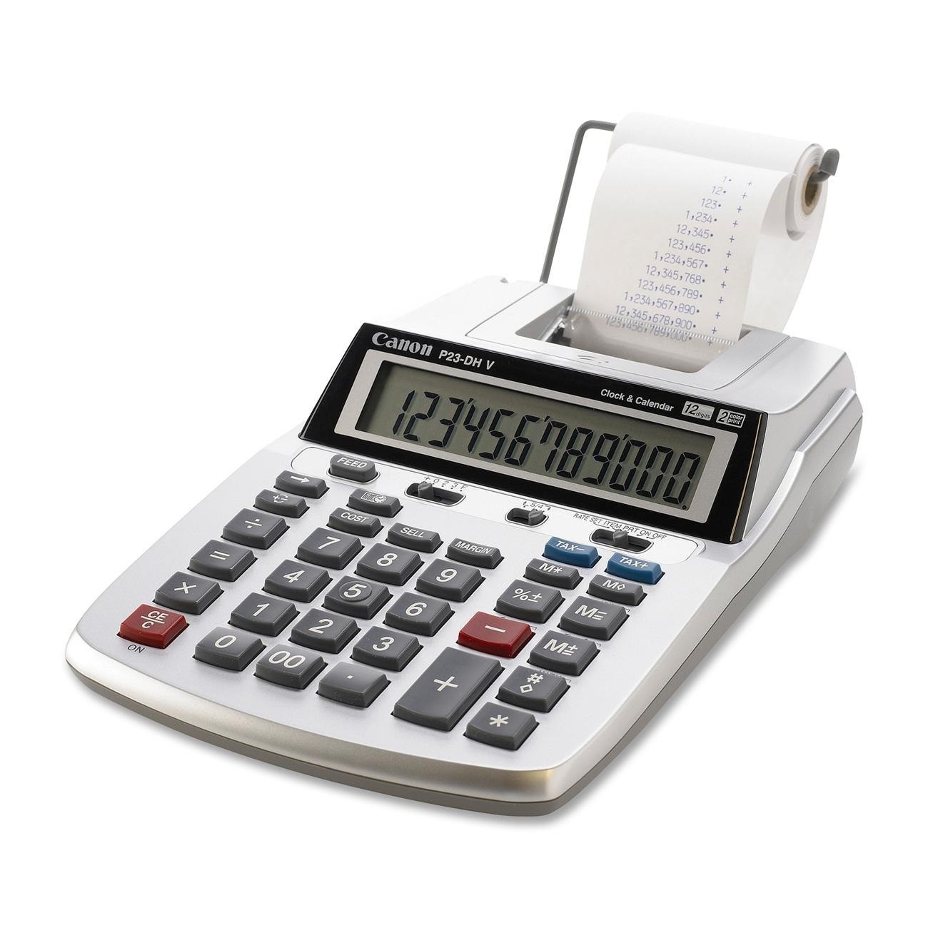 Canon P23-DHV 12-Digit Printing Calculator, Purple Red Print, 2.3 Lines Sec by Overstock