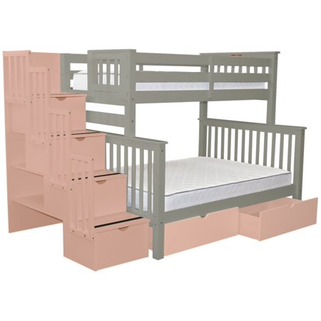 Bedz King Stairway Bunk Beds Twin Over Full With 4 Pink