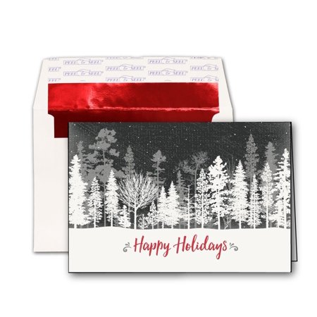 Black & White Trees Holiday Cards & Red Foil Envelopes - 20 Greeting Card Sets