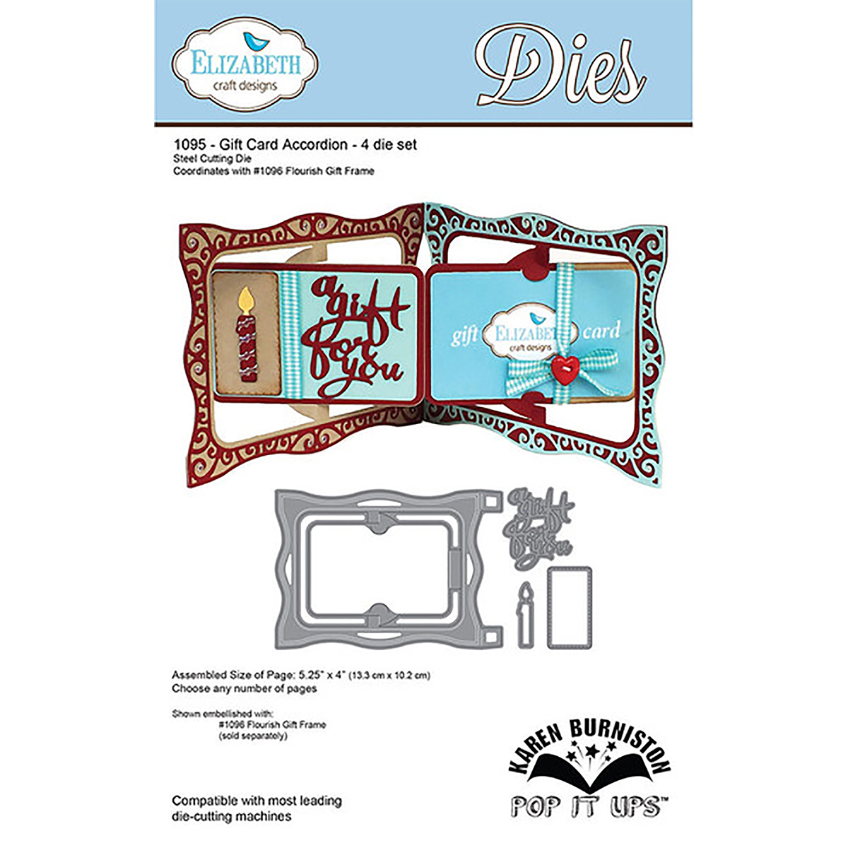 "Elizabeth Craft Pop It Up Metal Dies By Karen Burniston-Gift Card Accordion, 4""X5.25"""