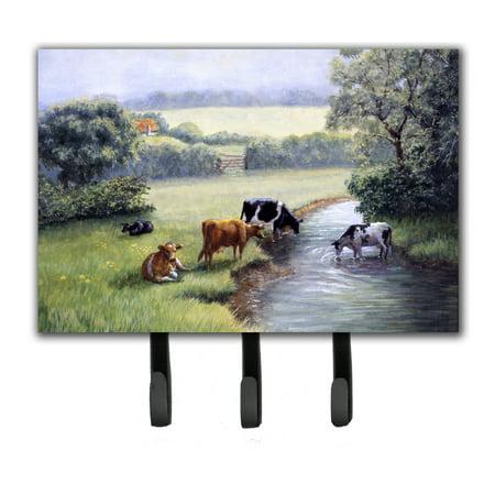 Cows Drinking At The Creek Bank Leash Or Key Holder Bdba0350th68