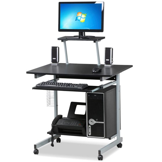 Yaheetech Mobile Computer Desks With Keyboard Tray Printer Shelf And Monitor Stand Small E Home