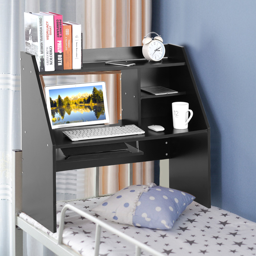 Wooden Storage Shelf with Keyboard Stand Computer Laptop Study Desk Table Organizer for Bed and Carpet, Black