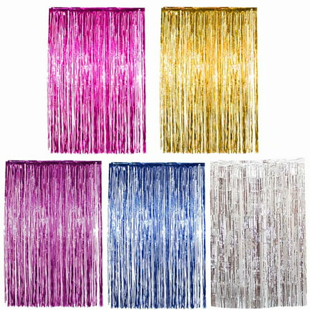 2m*1m Metallic Tinsel Curtains,Door Window Curtain Photo Booth Props,Foil Fringe - Perfect for Birthday & Wedding & Christmas & New Years Eve Party Decoration,Gold - Party City New Years Decorations