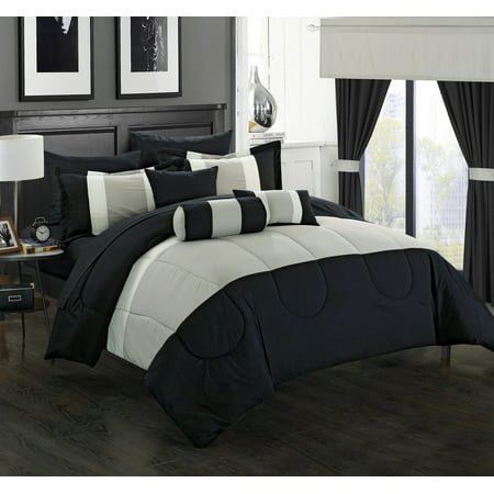 Valley Bedding Collection - Chic Home 20-Piece Whitehall Complete-Pieced color block bedding, sheets, window panel collection King Bed In a Bag Comforter Set Black Sheets Included