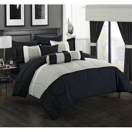 Valley Bedding Collection - Chic Home 20-Piece Whitehall Complete-Pieced color block bedding, sheets, window panel collection Queen Bed In a Bag Comforter Set Black Sheets Included