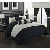 20-Piece Luxury Comforter Set in Black Colorblock, Choose Your Size and Color