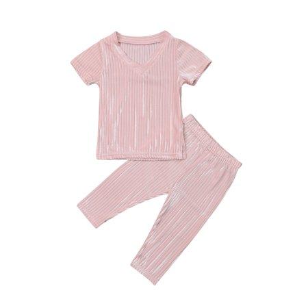 Children's Clothes Girls Fashion Cotton Two-Faced Fluff V-neck Suit T-shirt Tops + Pants](Two Face Suit)