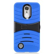 For LG Rebel 3 (Tracfone) Phone, Heavy Duty Hard Armor Cover Case with Kickstand (Blue-Black)