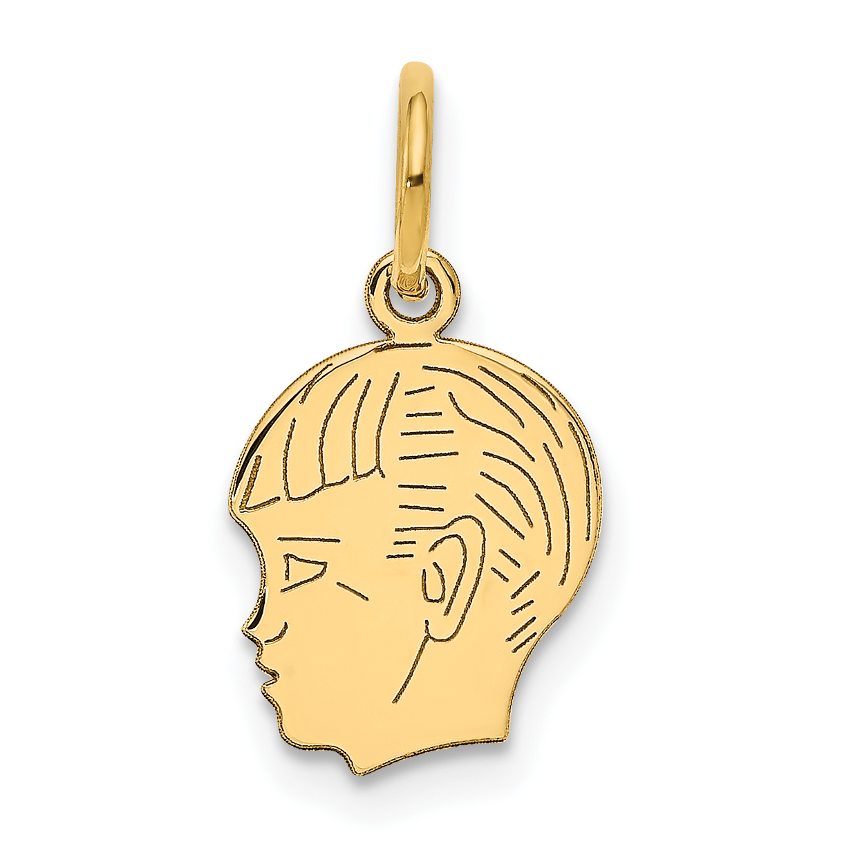 ICE CARATS 14kt Yellow Gold Boy Head Pendant Charm Necklace Engravable Disc Left Facing Girl Pre Engraved Fine Jewelry Ideal Gifts For Women Gift Set From Heart