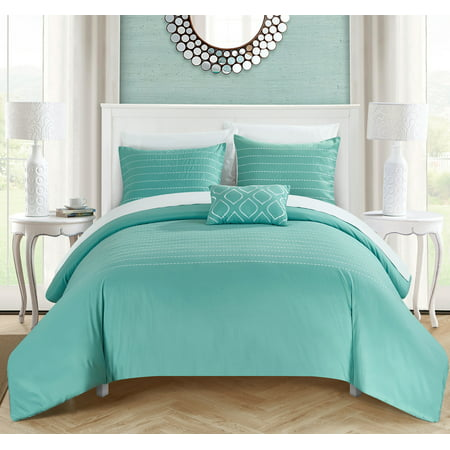 Chic Home 8 Piece Kingston Super Soft Microfiber Stitch Embroidered Queen Bed In A Bag Duvet Set Blue With White Sheets Included