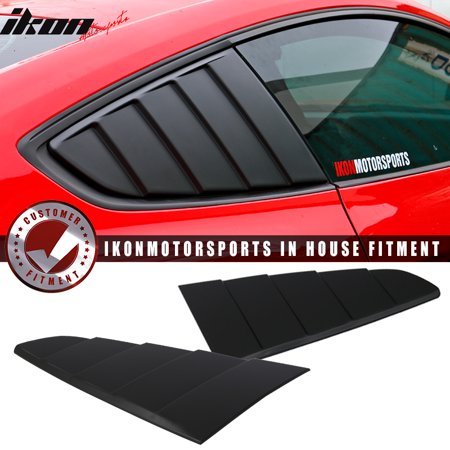 Mustang Xenon Side Scoops - Fits 15-20 Mustang CV Style Rear Side Quarter Window Louvers Scoops Black - PP