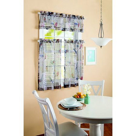 Better Homes And Gardens Songbirds Print Kitchen Tier Curtain And Valance Set