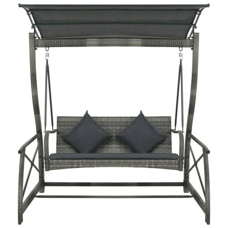 HERCHR Garden Swing Chair Poly Rattan Gray 65.7
