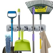 forhauz Broom Holder with 5 Holding Positions &Amp; 6 Hooks, Easy Wall Mount Storage for Organizing Garage Or Closet