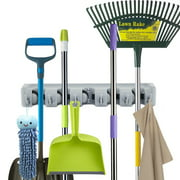 Forhauz Broom Holder with 6 Hooks, Easy Wall Mount Storage for Organizing Garage or Closet