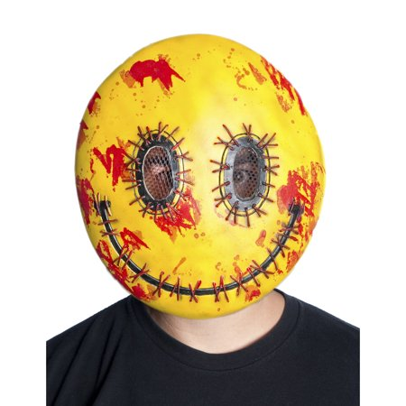Adults Bloody Stitched Happy Emoji Vacuform Face Strap Mask Costume Accessory - Stitched Up Halloween Face